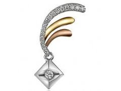 OL珠宝网舞皇后三色金钻石吊坠
