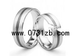 (love系列)18K白金宽型圆环婚礼对戒