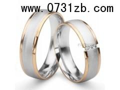 (love系列)18K宽型双色金婚礼对戒 高档舒适结婚戒指