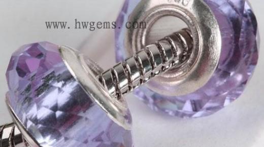 时尚潘多拉珠子 玻璃/锆石