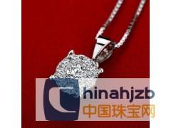 诗华珠宝 1克拉效果钻石项链18K白金钻石吊坠20分IJ色